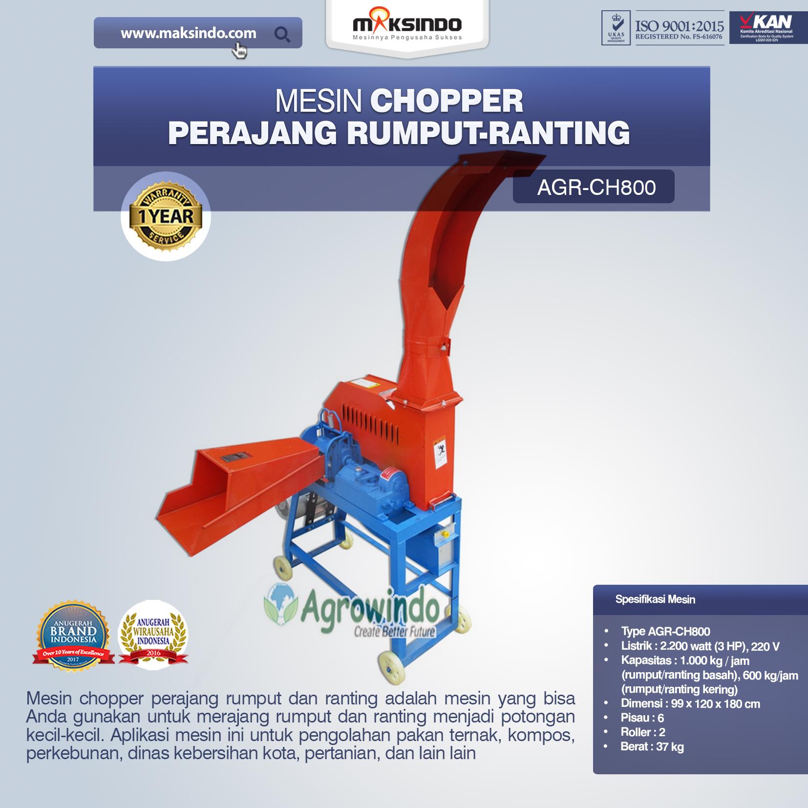 Jual Mesin Chopper Perajang Rumput-Ranting (AGR-CH800) di Banjarmasin