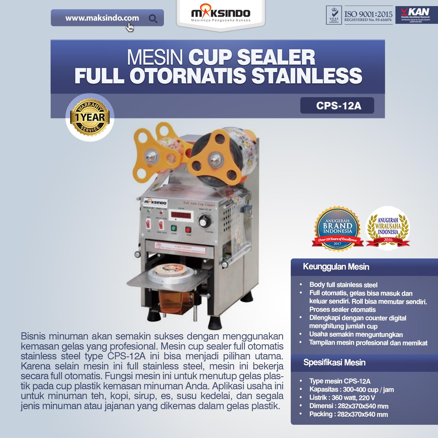 Jual Mesin Cup Sealer Full Otomatis Stainless (CPS-12A) di Banjarmasin