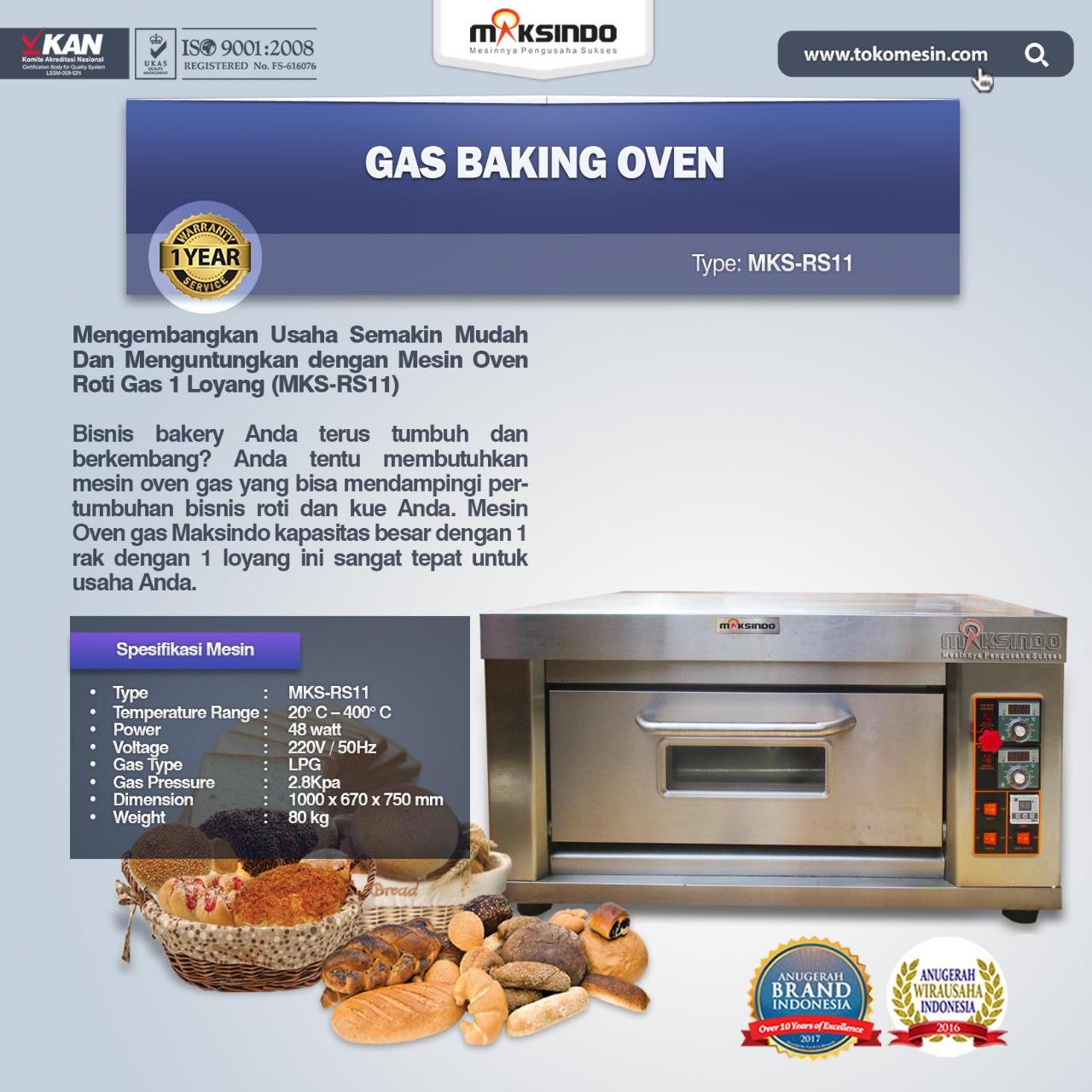 Jual Mesin Oven Roti Gas 1 Loyang (MKS-RS11) di Banjarmasin