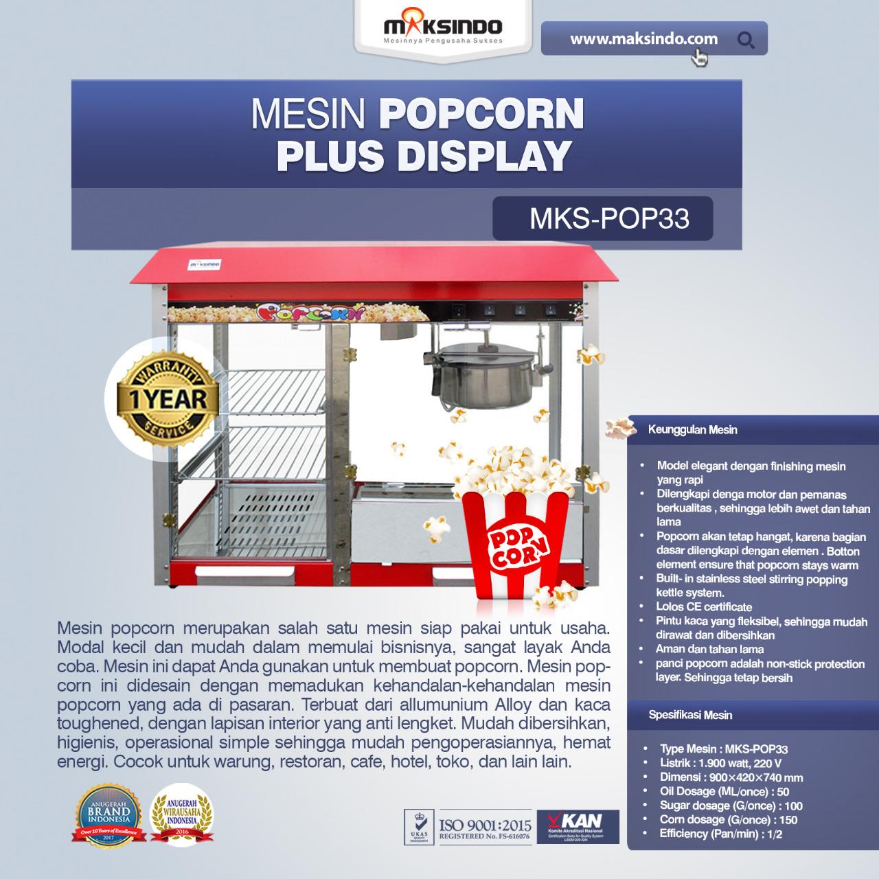 Jual Mesin Popcorn Plus Display (POP33)di Banjarmasin