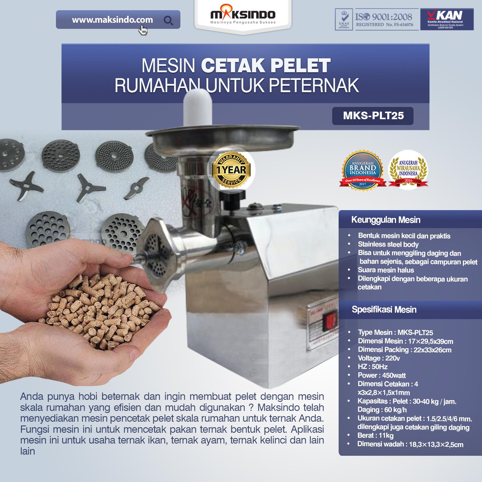 Jual Mesin Cetak Pelet Rumahan Untuk Peternak (MKS-PLT25) di Banjarmasin