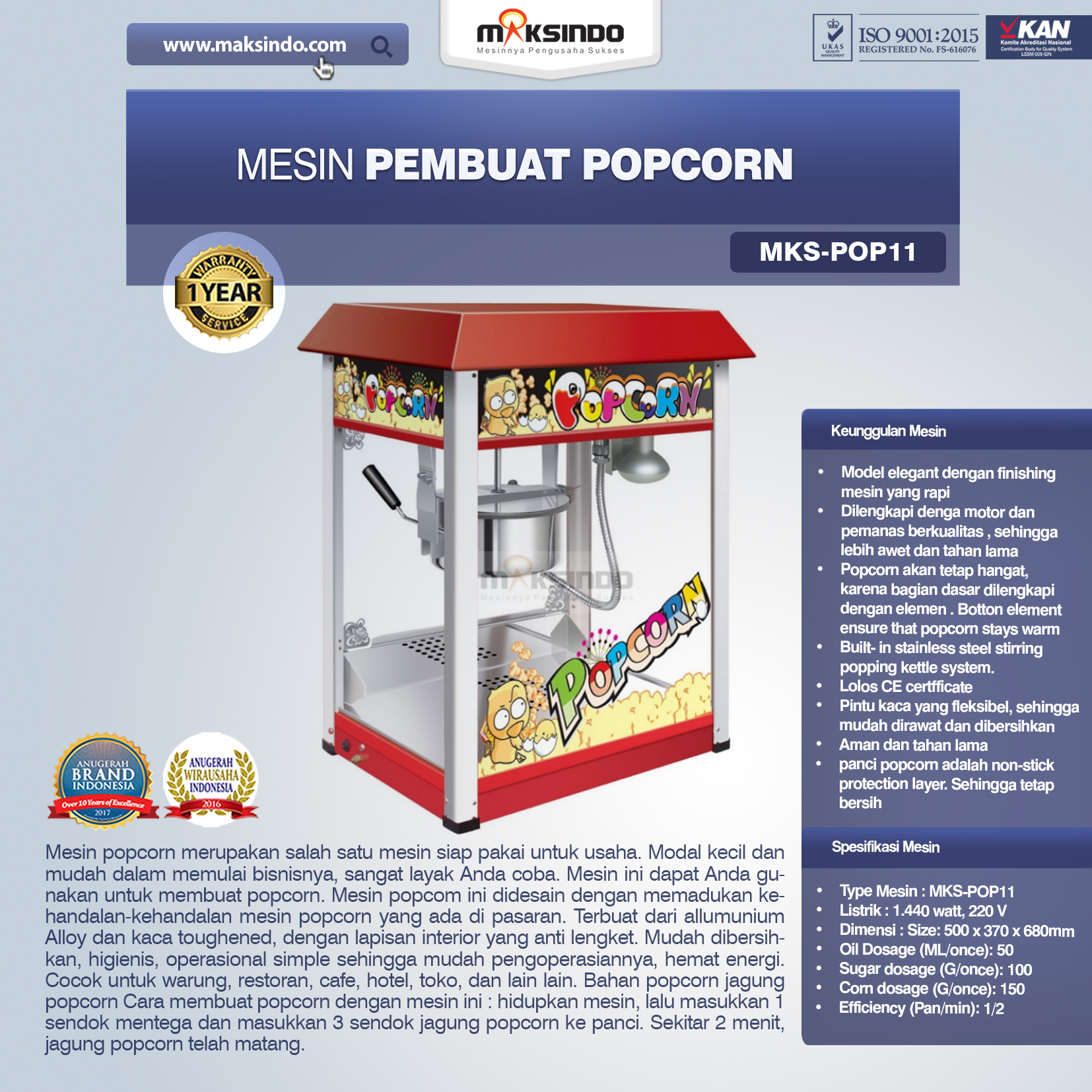 Jual Mesin Pembuat Popcorn (POP11) di Banjarmasin