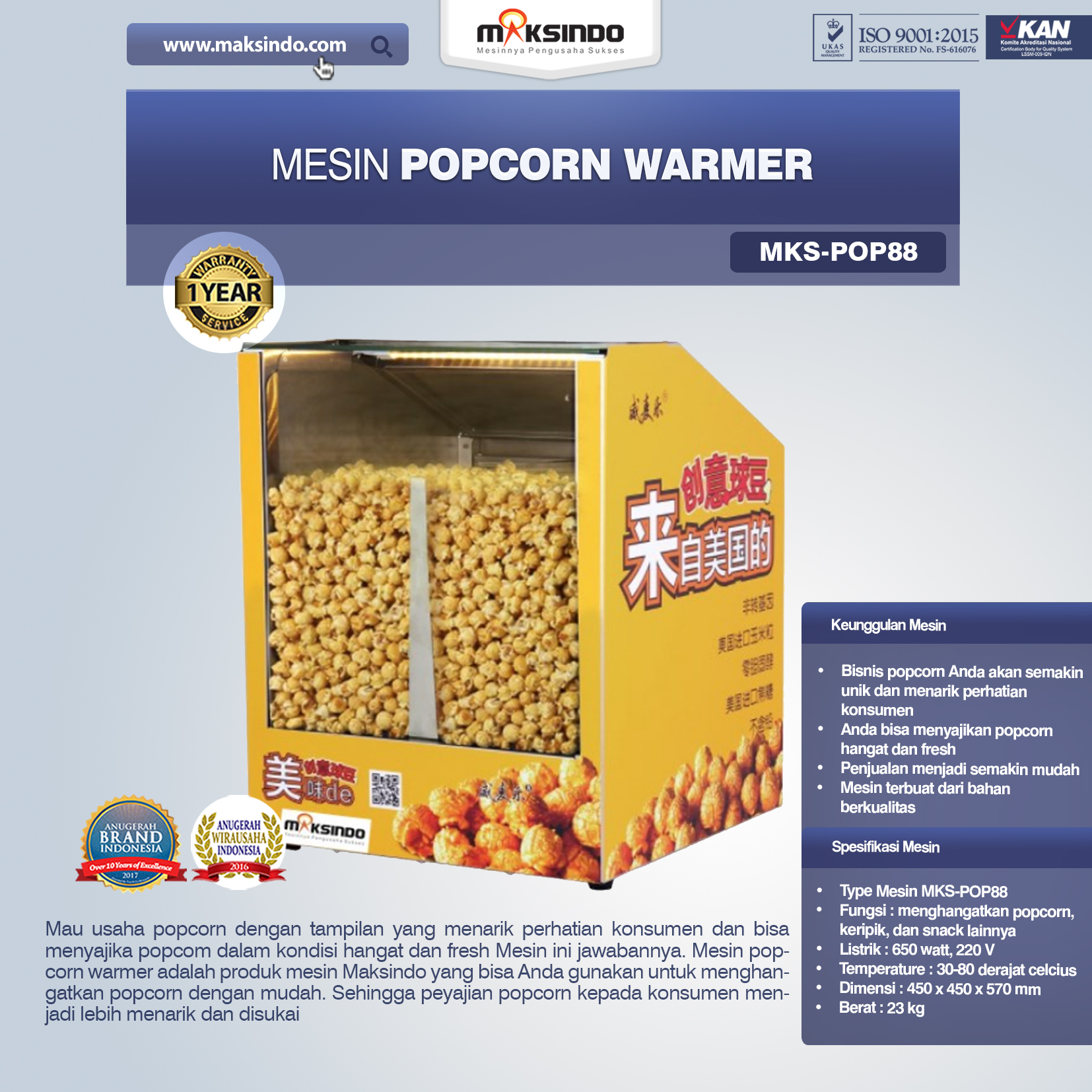 Jual Mesin Popcorn Warmer (POP88) di Banjarmasin