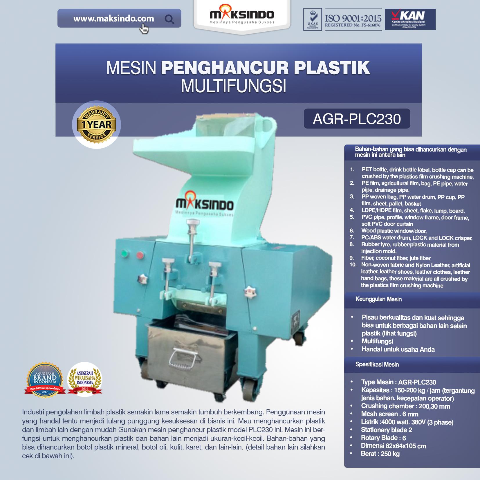 Jual Mesin Penghancur Plastik Multifungsi – PLC230 Di Banjarmasin