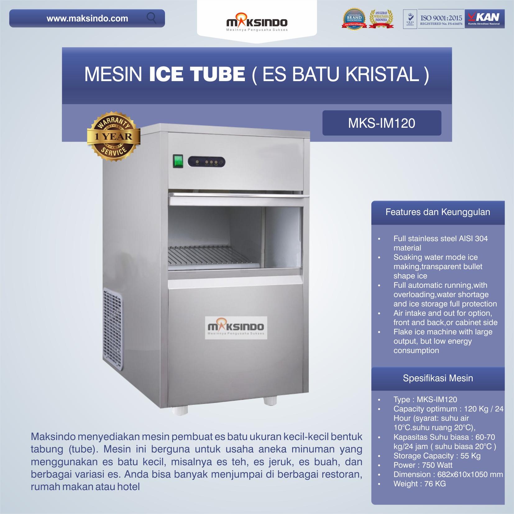 Jual Mesin Ice Tube (Es Batu Kristal) – IM120 di Banjarmasin