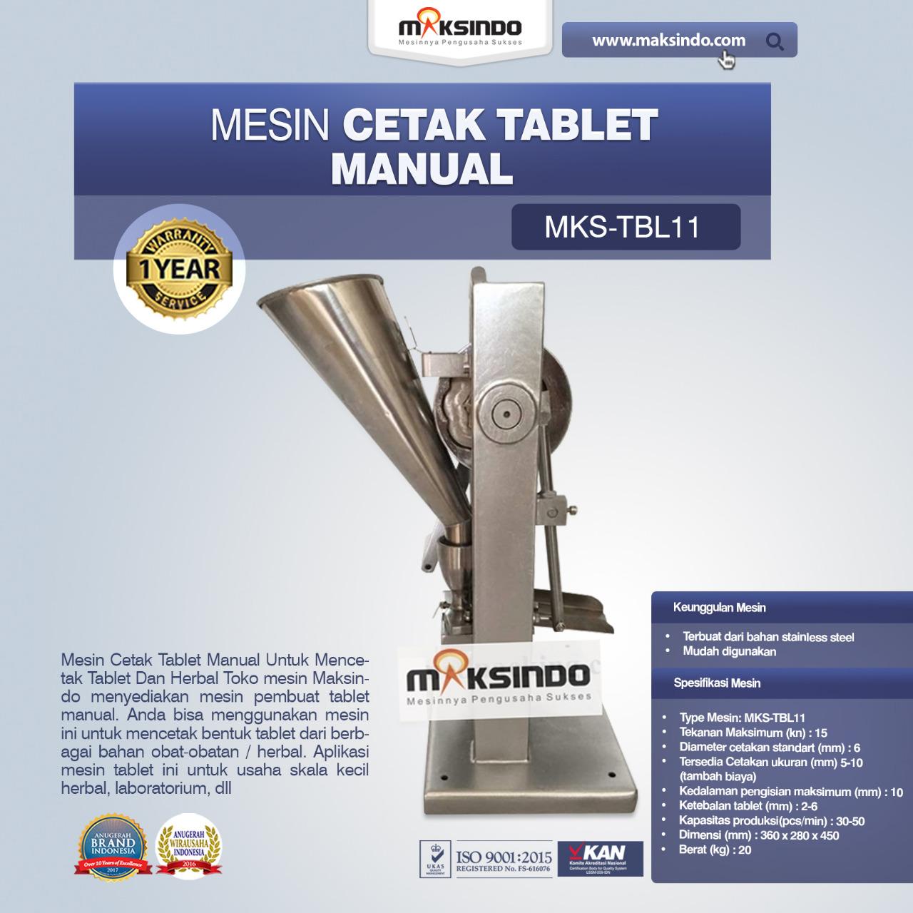 Jual Mesin Cetak Tablet Manual – MKS-TBL11 di Banjarmasin