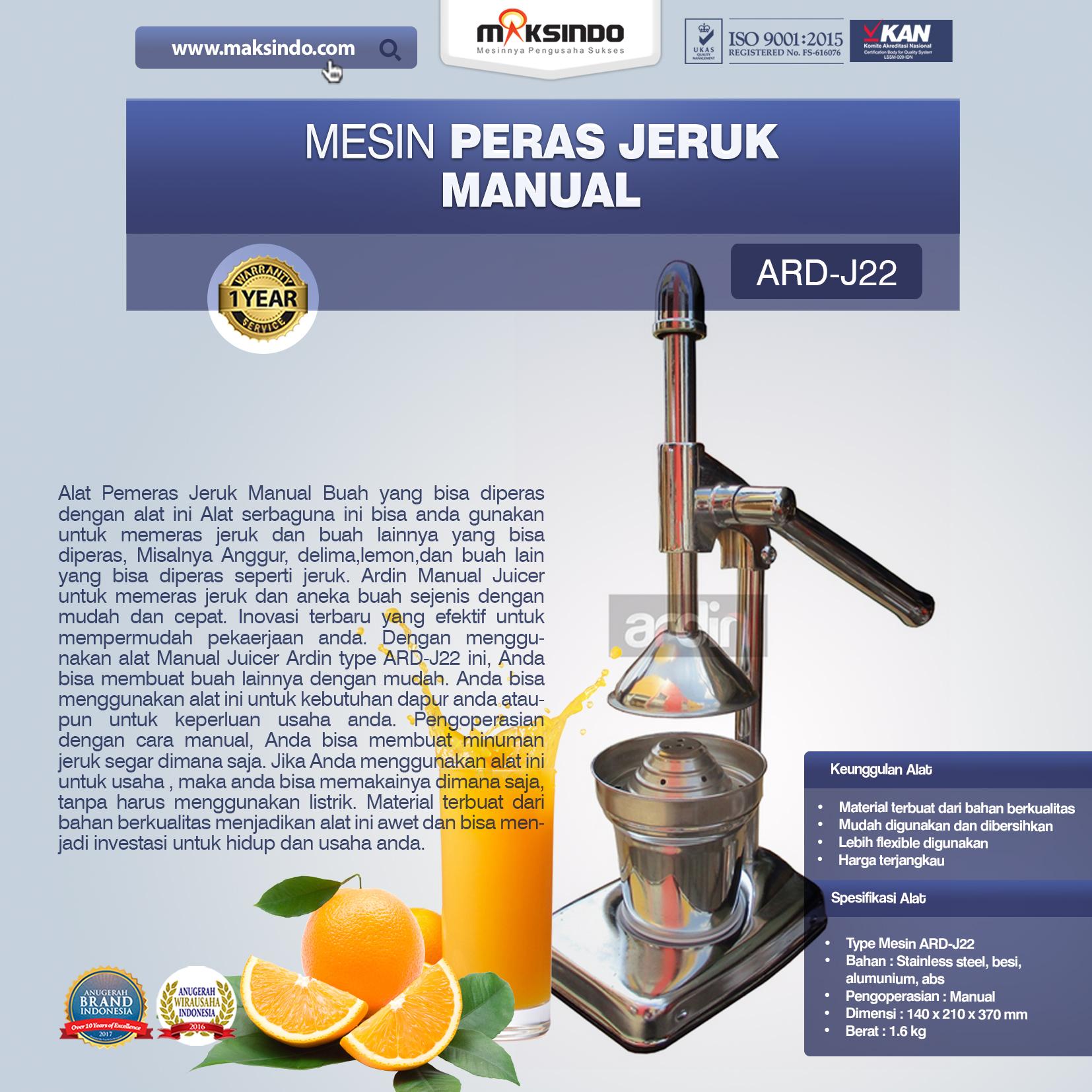 Jual Alat Pemeras Jeruk Manual ARD-J22 Di Banjarmasin