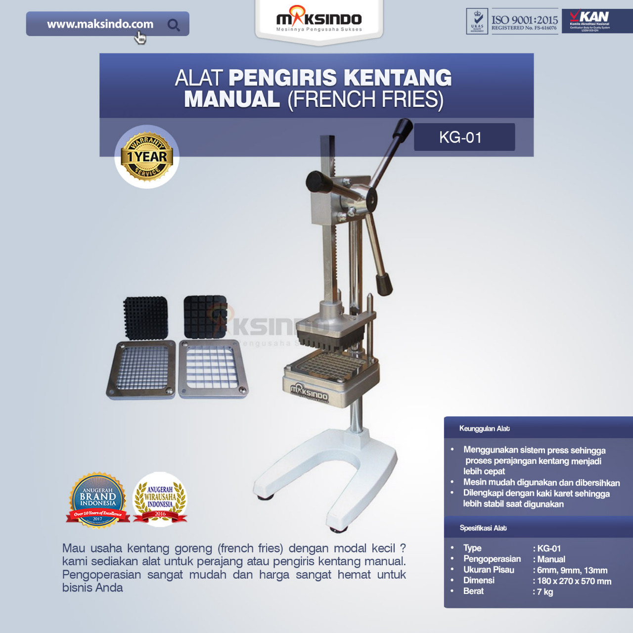 Jual Alat Pengiris Kentang Manual (french fries) di Banjarmasin