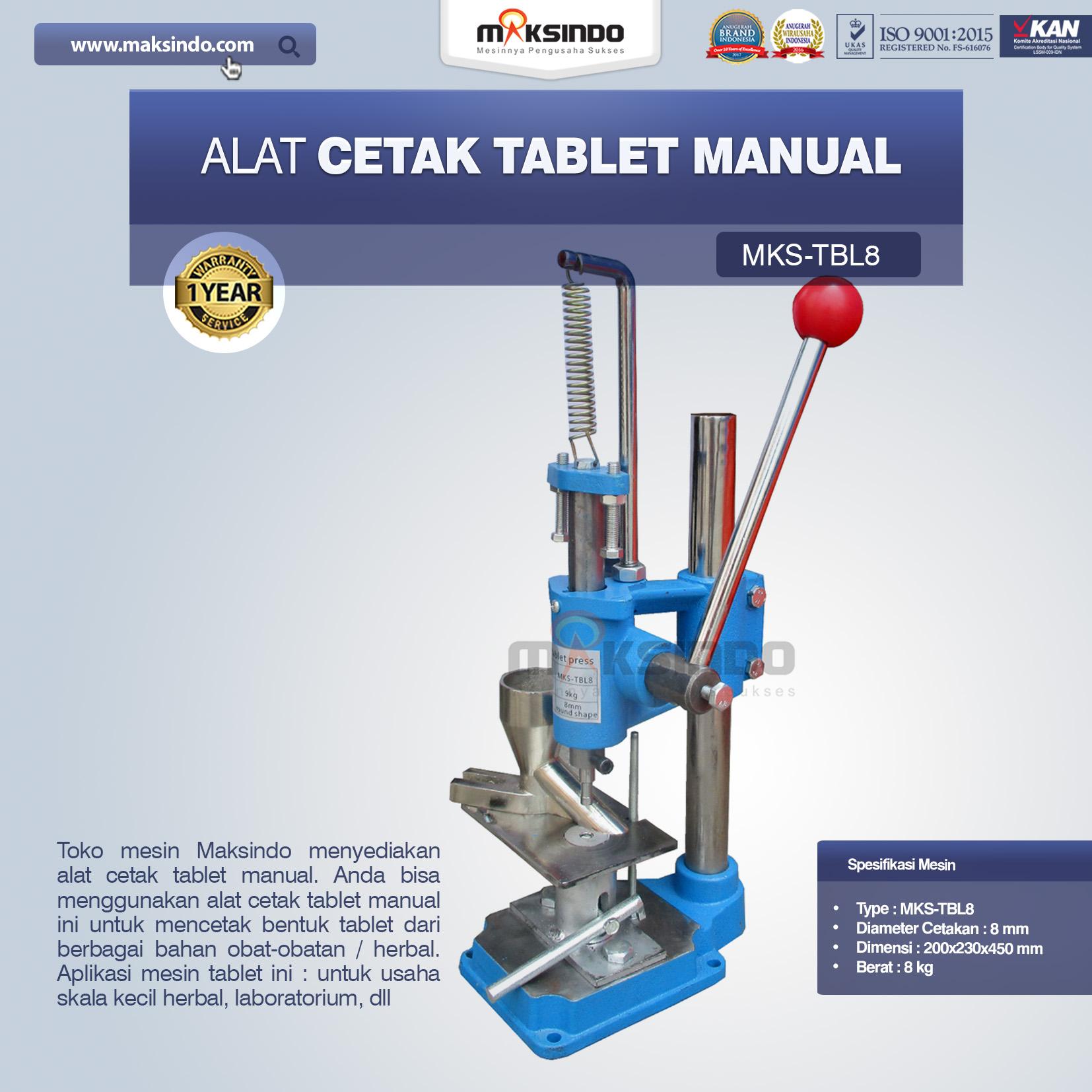 Jual Alat Cetak Tablet ManualMKS-TBL8 di Banjarmasi