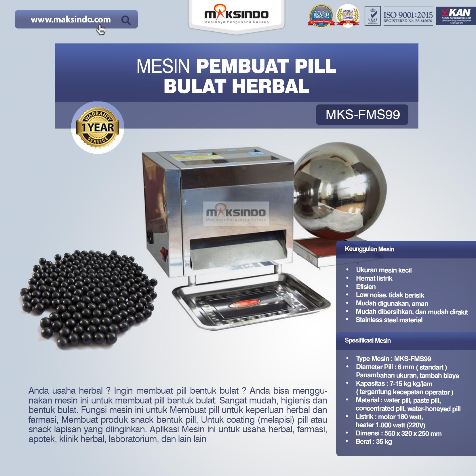 Jual Mesin Pembuat Pill Bulat Herbal (FMS99) di Banjarmasin