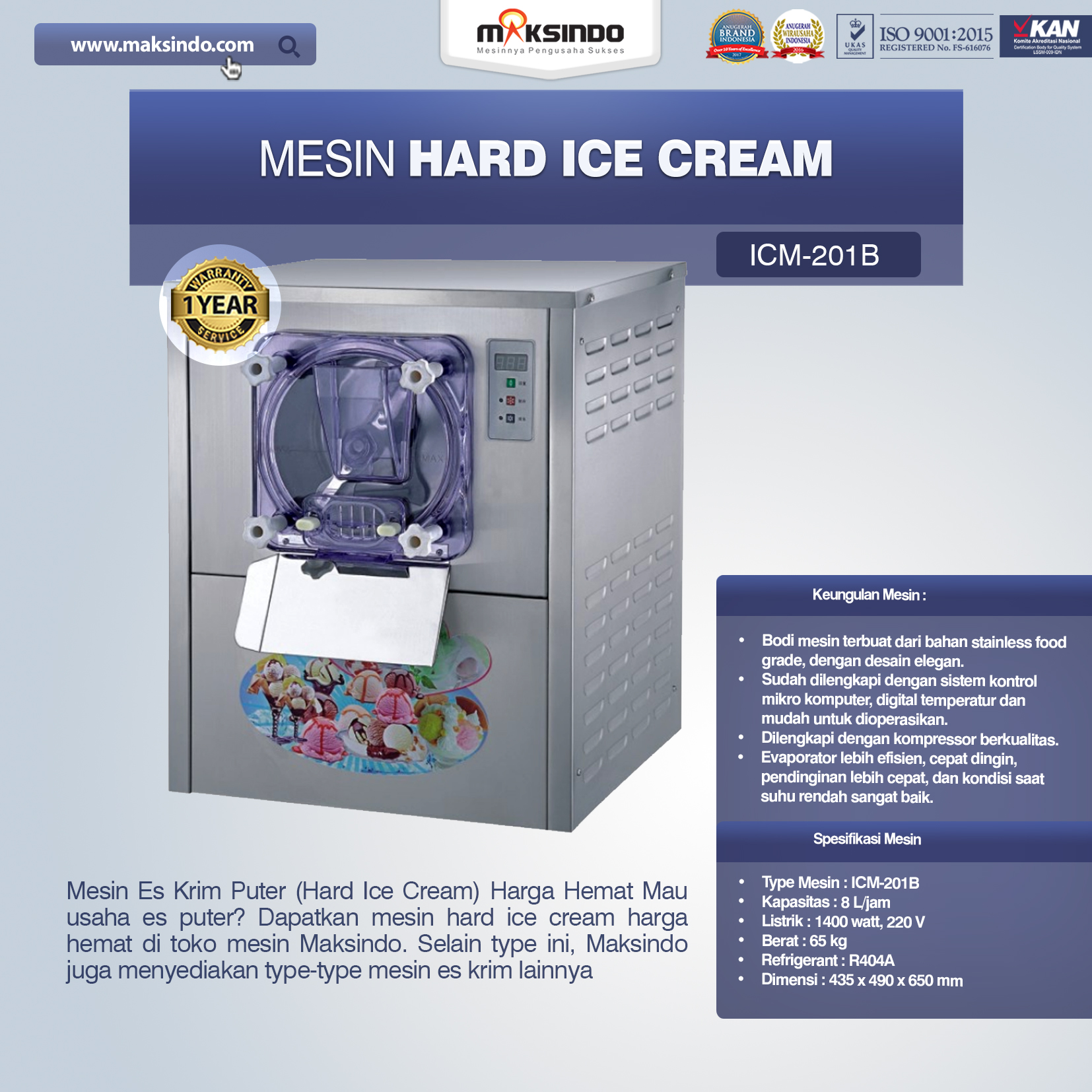 Jual Mesin Hard Ice Cream (ICM201B) di Banjarmasin