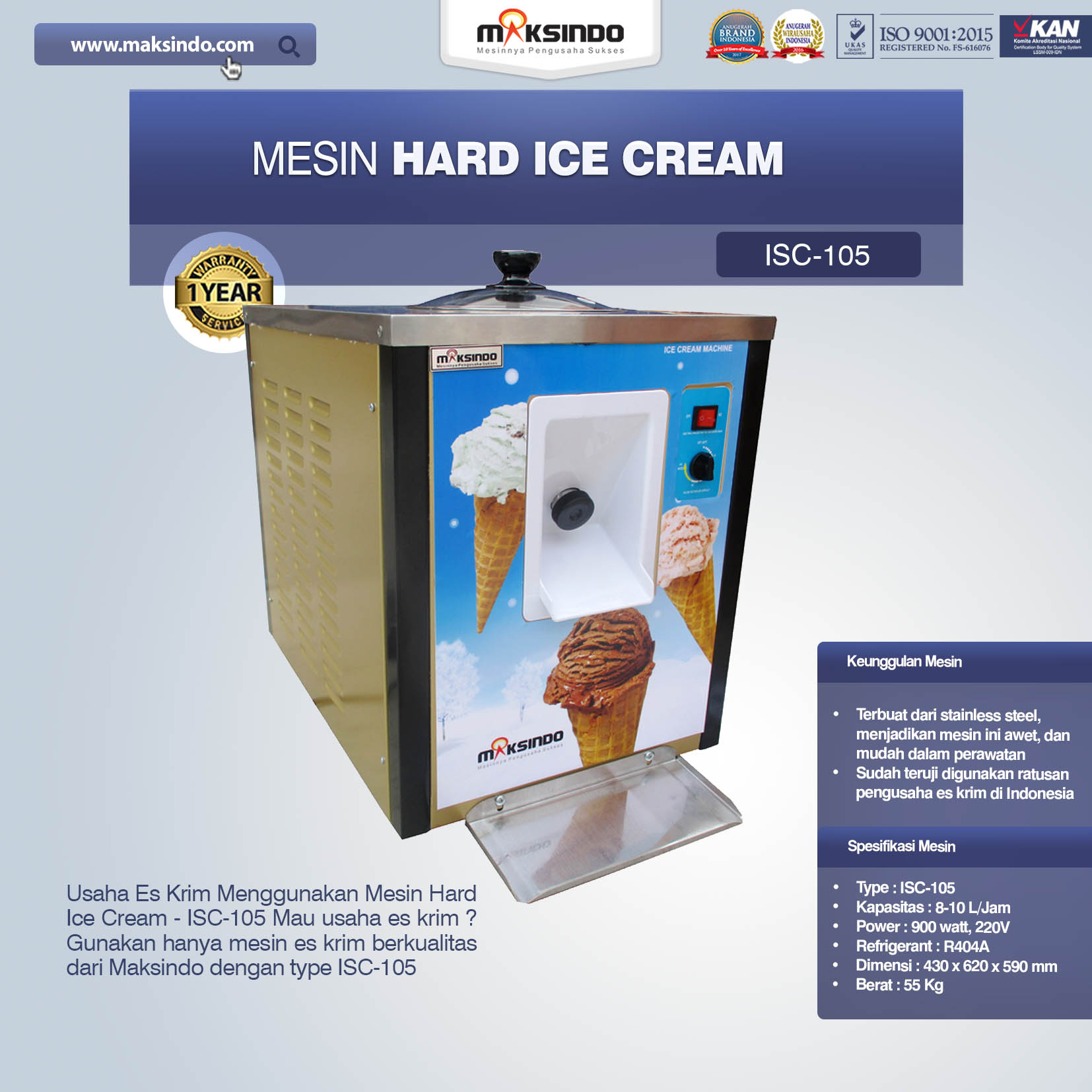 Jual Mesin Hard Ice Cream – ISC-105 di Banjarmasin