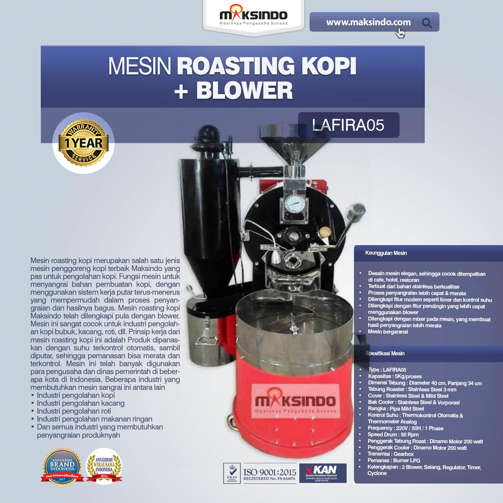 Jual Mesin Roasting Kopi + Blower LAFIRA05 di Banjarmasin