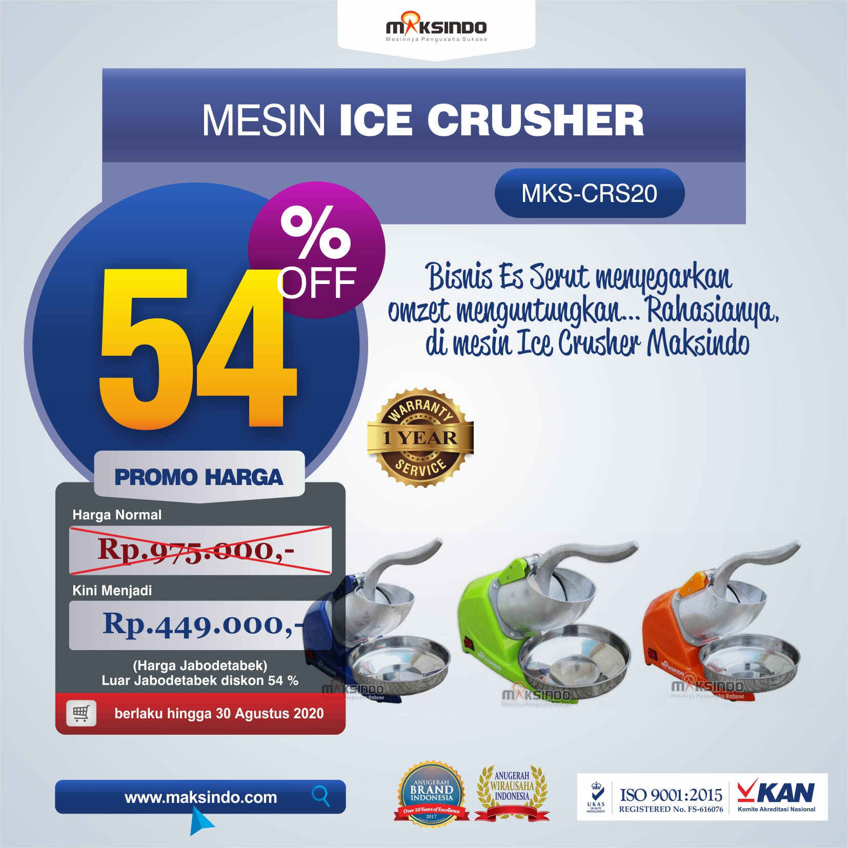 Jual Mesin Ice Crusher MKS-CRS20 di Banjarmasin