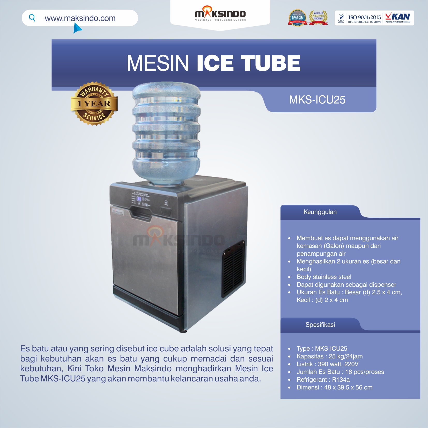 Jual Mesin Ice Tube MKS-ICU25 di Banjarmasin