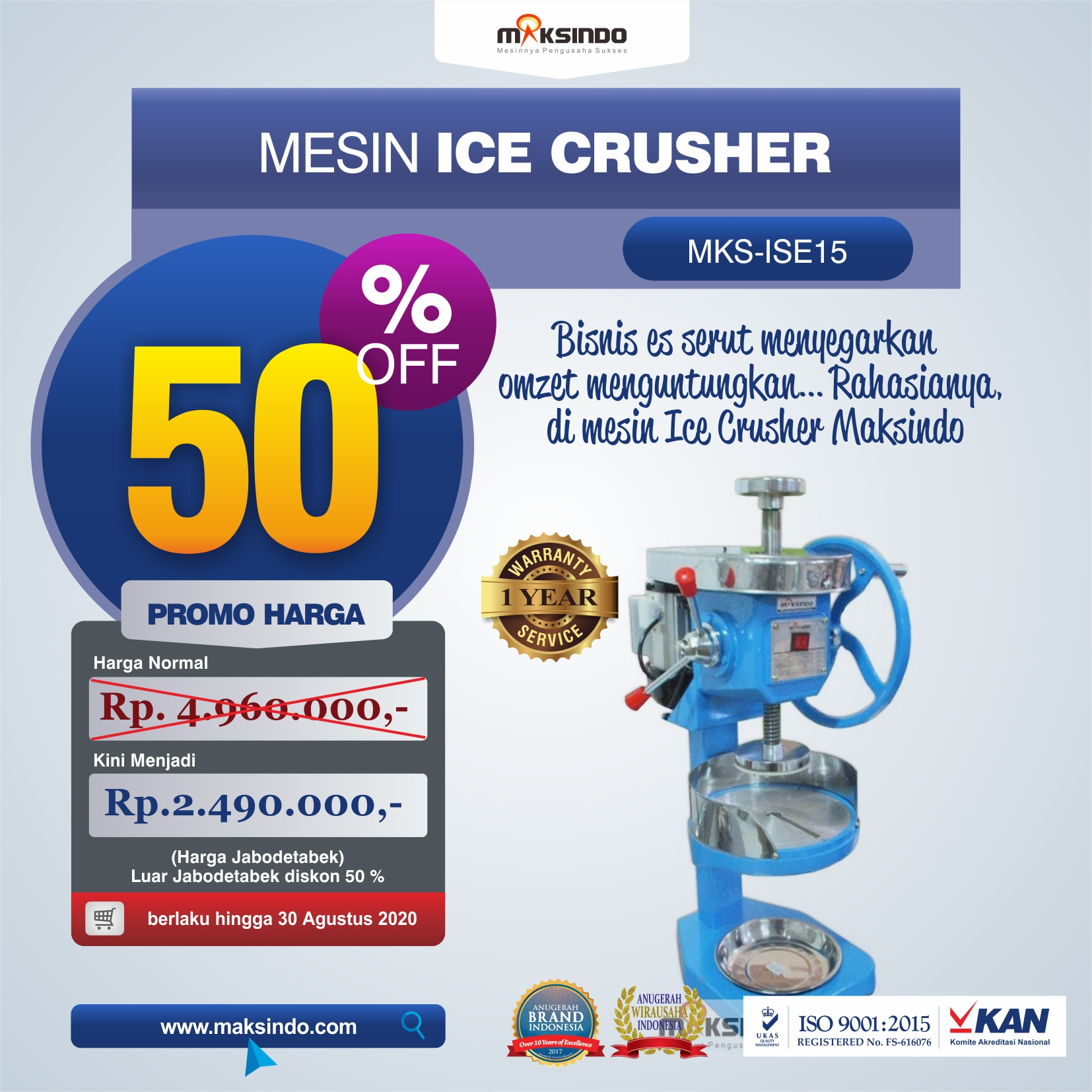 Jual Mesin Ice Crusher MKS-ISE15 di Banjarmasin