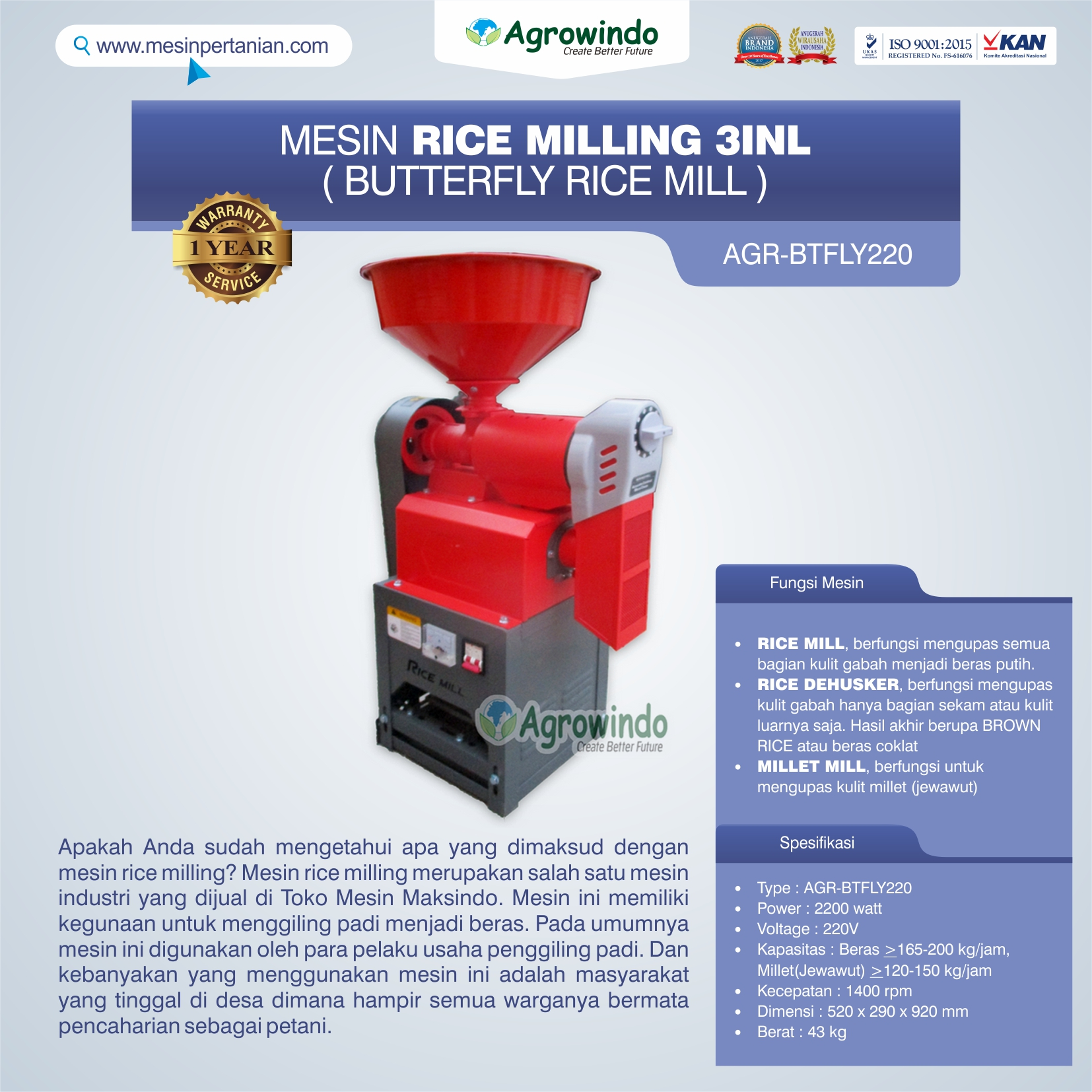 Jual Mesin Rice Milling 3in1 (Butterfly Rice Mill) AGR-BTFLY220 di Banjarmasin
