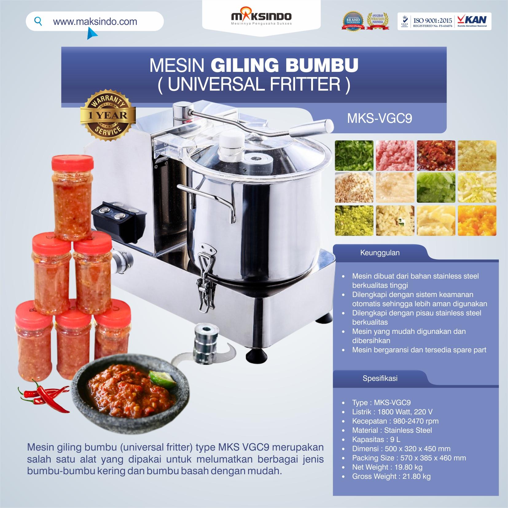 Jual Mesin Giling Bumbu (Universal Fritter) MKS VGC9 di Banjarmasin
