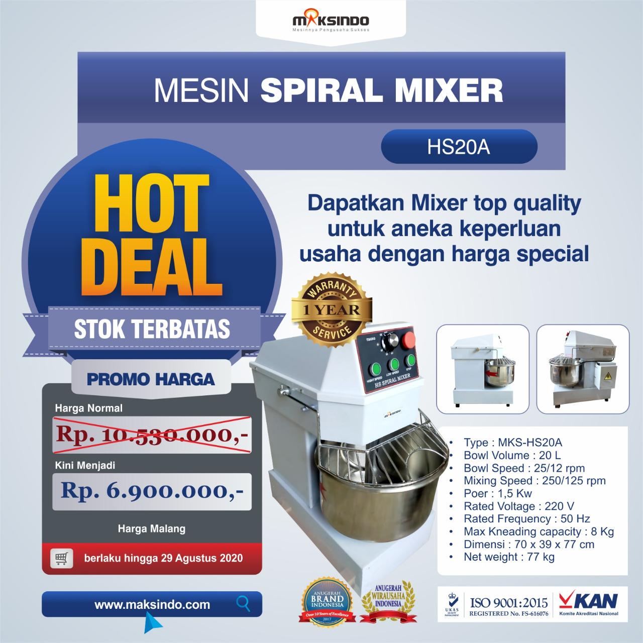 Jual Mesin Mixer Roti SPIRAL MKS-HS20A di Banjarmasin