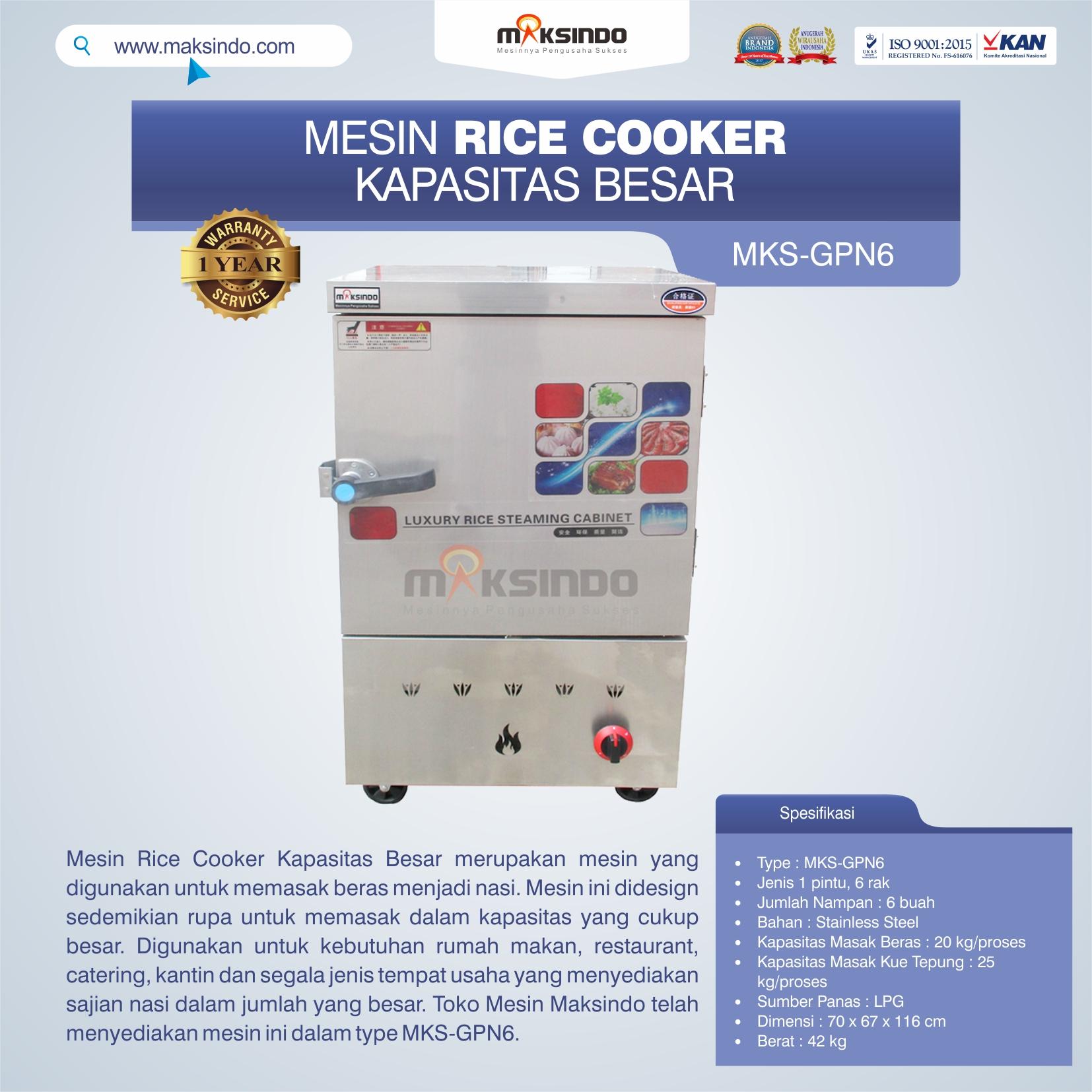 Jual Mesin Rice Cooker Kapasitas Besar MKS-GPN6 di Banjarmasin