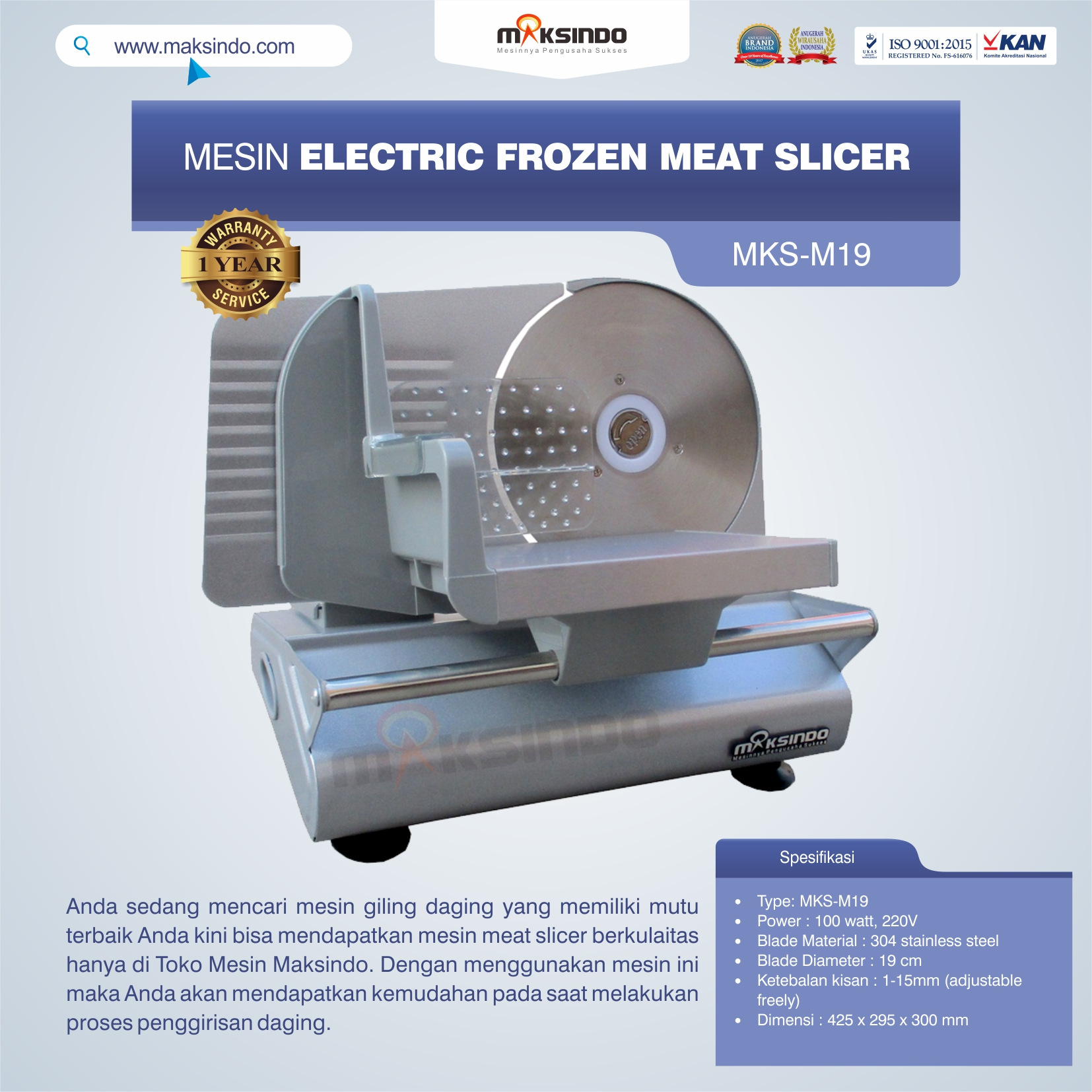 Jual Mesin Electric Frozen Meat Slicer MKS-M19 Di Banjarmasin