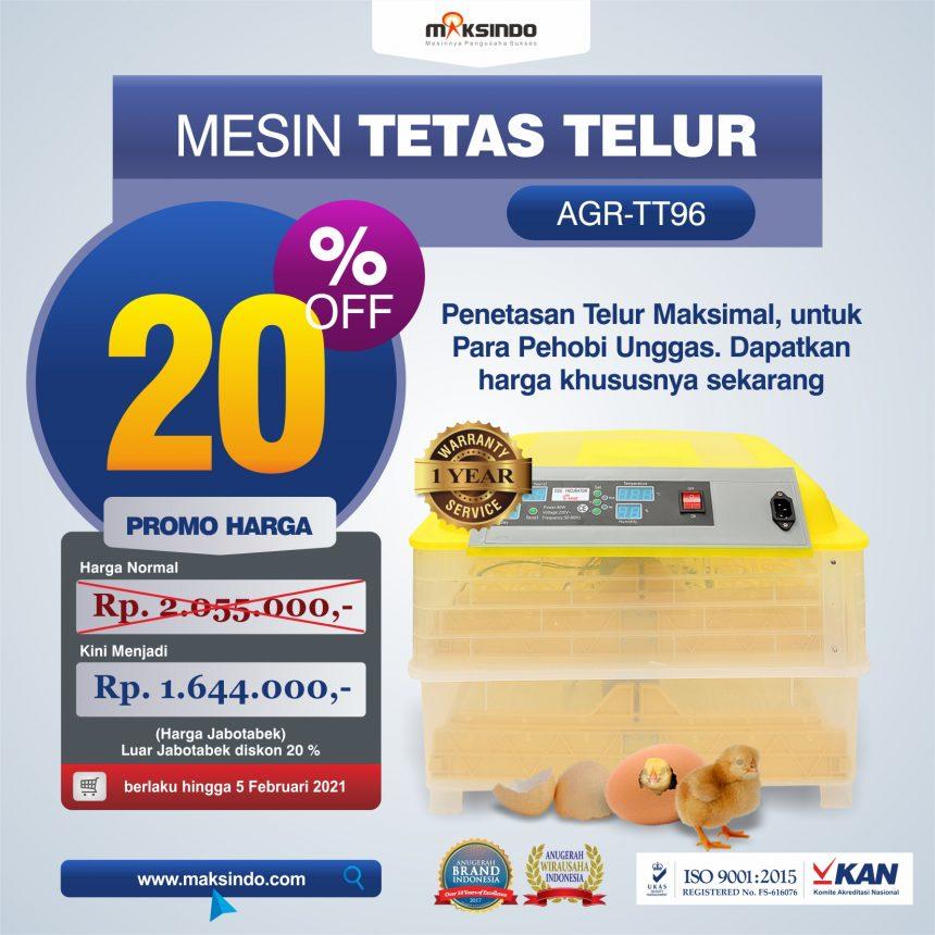 Jual Mesin Penetas Telur 96 Butir Otomatis – AGR-TT96 di Banjarmasin
