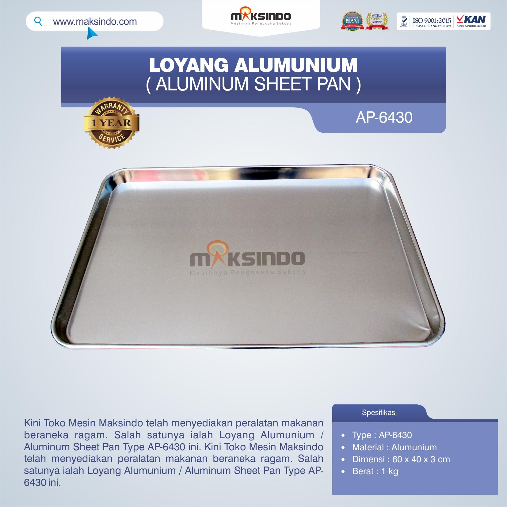 Jual Loyang Alumunium / Aluminum Sheet Pan Type AP-6430 di Banjarmasin