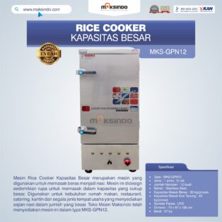 Jual Mesin Rice Cooker Kapasitas Besar MKS-GPN12 di Banjarmasin