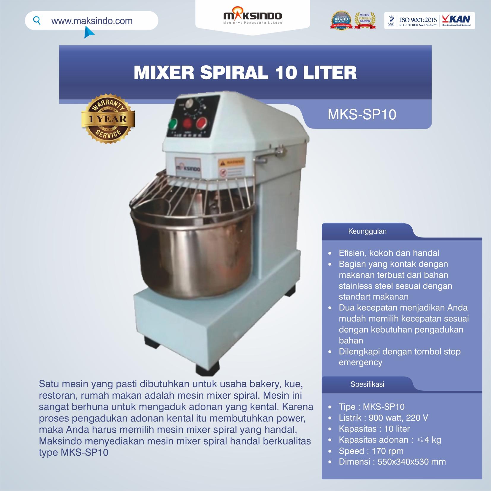 Jual Mixer Spiral 10 Liter (MKS-SP10) di Banjarmasin
