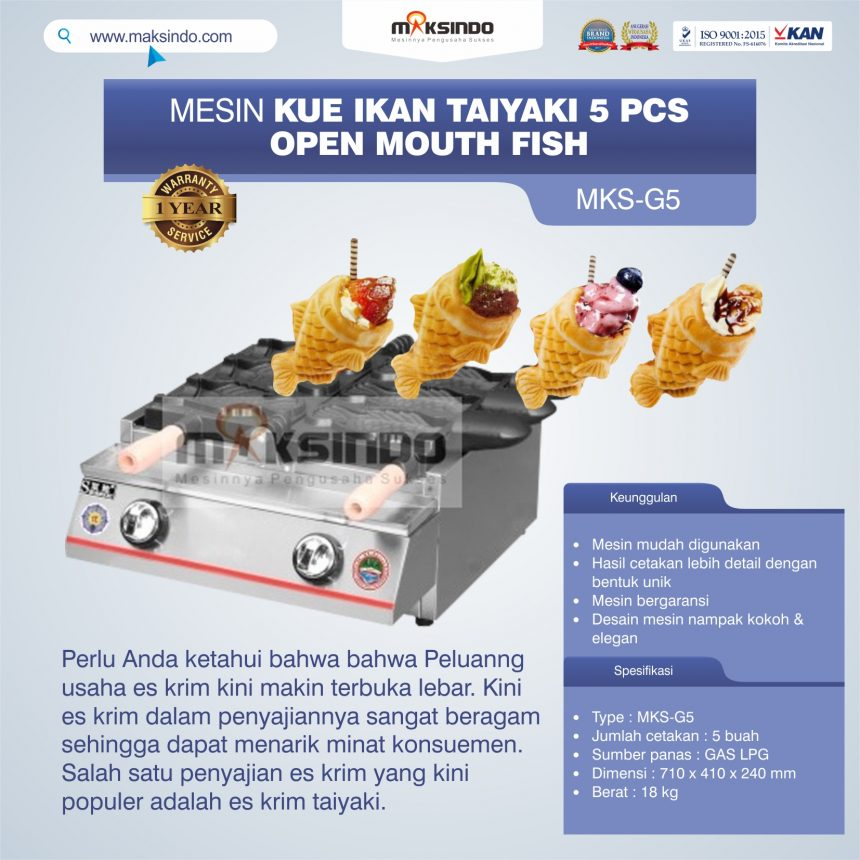 Jual Mesin Kue Ikan Taiyaki 5 Pcs – Open Mouth Fish di Banjarmasin