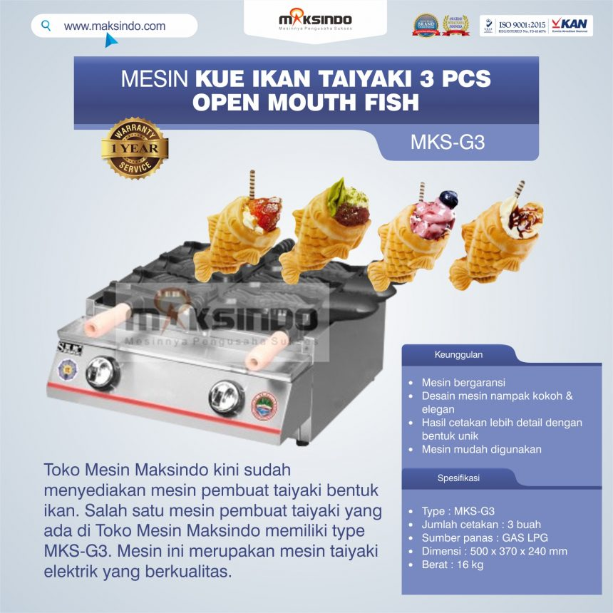 Jual Mesin Kue Ikan Taiyaki (3 pcs) – Open Mouth Fish di Banjarmasin
