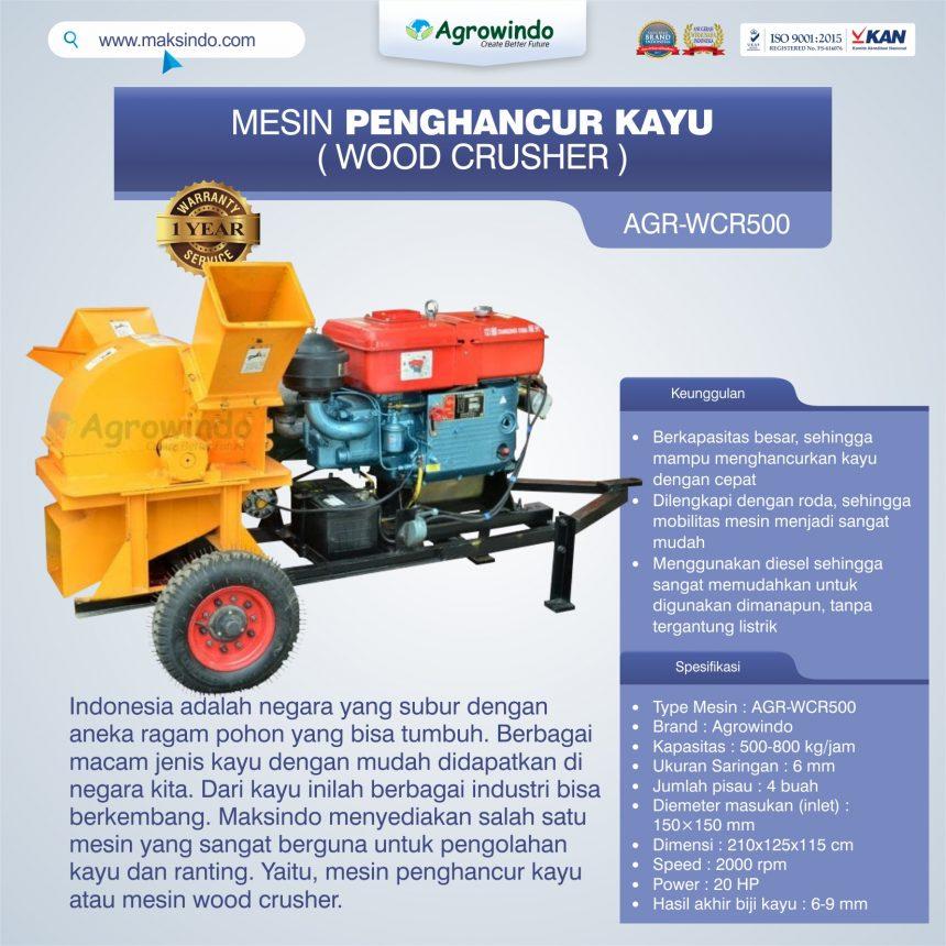Jual Mesin Penghancur Kayu (wood crusher) AGR-WCR500 di Banjarmasin
