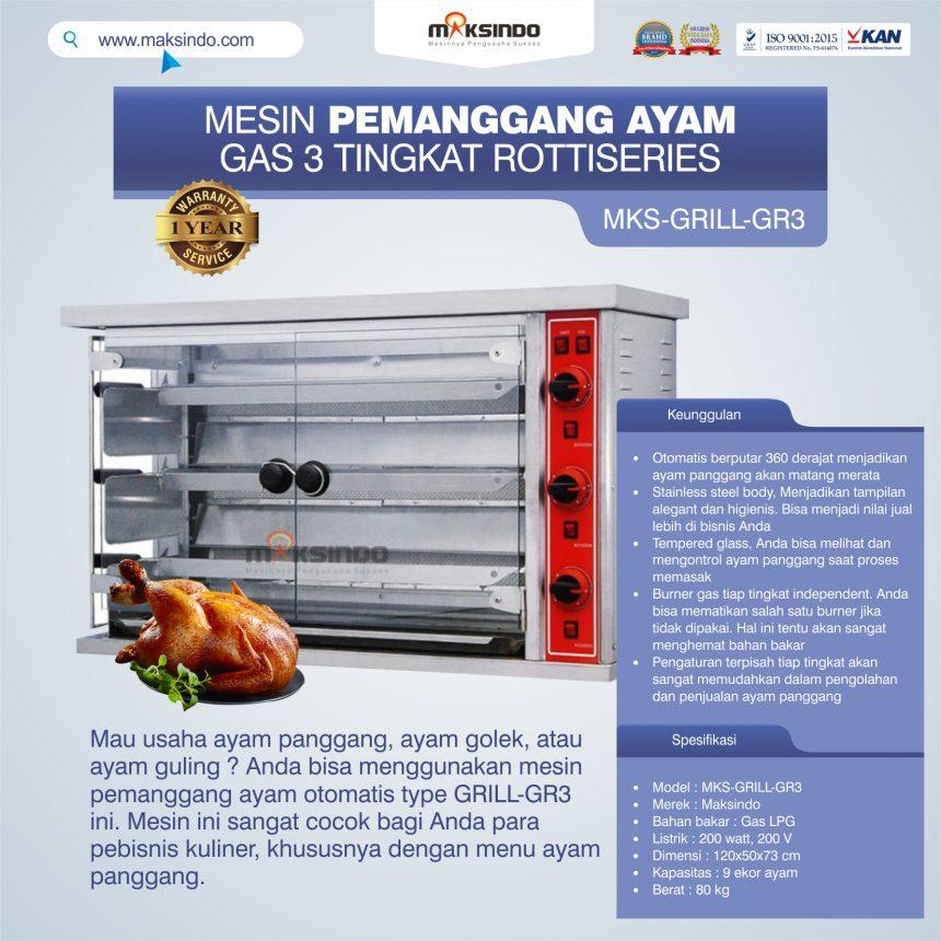 Jual Mesin Pemanggang Ayam Gas 3 Tingkat Rottiseries (GRILL-GR3) di Banjarmasin