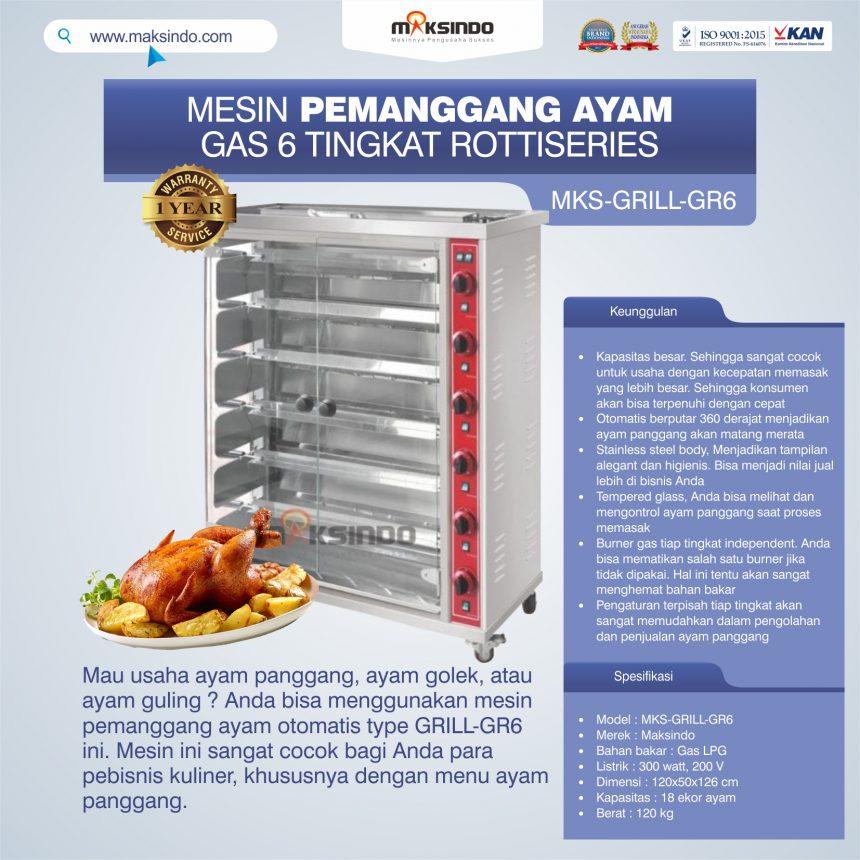Jual Mesin Pemanggang Ayam Gas 6 Tingkat Rottiseries (GRILL-GR6) di Banjarmasin